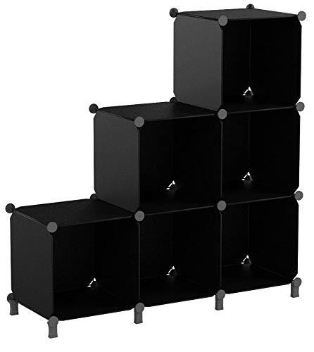 TomCare Cube Storage 6-Cube Closet Organizer Storage Shelves Cubes Organizer Closet Cabinet Modular Book Storage Shelving Shelf Organizing for Living Room Office Black