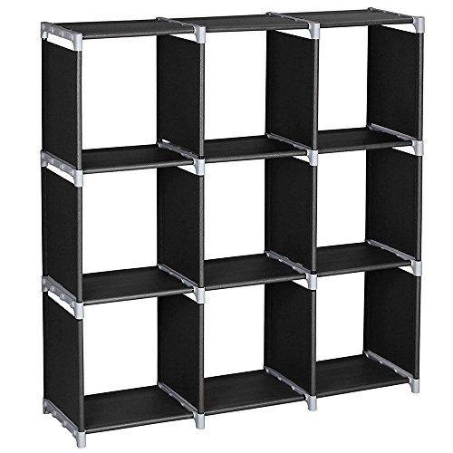 thebestshop99 3 Tier 9 Cube Compartment Storage Closet Organizer Shelf 9 Cubes Bookcase Holader Storage Modular Space Saving Black