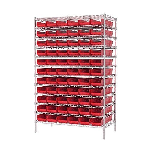 Akro-Mils 12 Shelves Wire Shelving Bin Rack Storage Unit with 66 Shelf Bins 24Dx48Wx74H Chrome Red