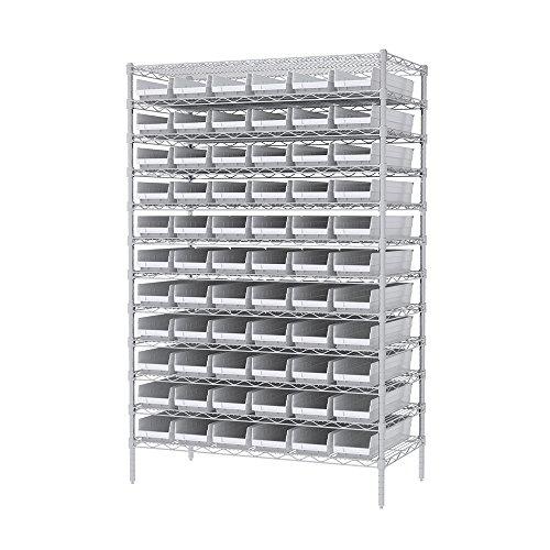 Akro-Mils 12 Shelves Wire Shelving Bin Rack Storage Unit with 66 Shelf Bins 24Dx48Wx74H Chrome White