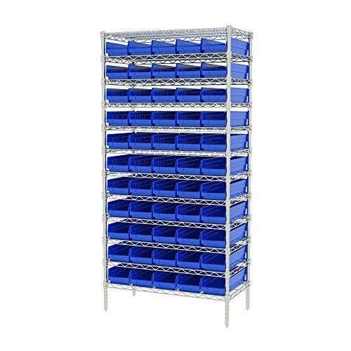 Akro-Mils AWS183630138B Wire Bin Shelving System with 12 Shelves and Blue Shelf Bins 36-Inch x 18-Inch x 74-Inch Chrome