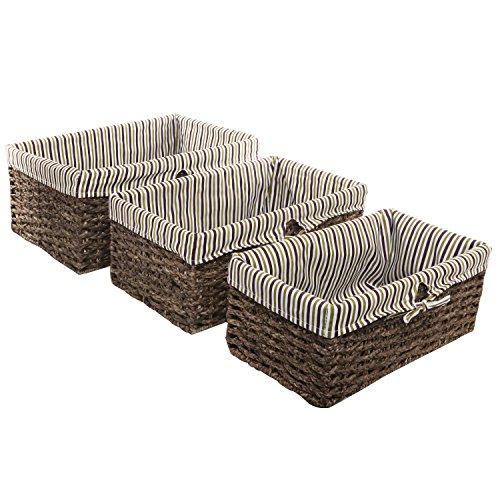 Brown Home Storage Nesting Basket  Fabric Lined Rattan Shelving Bins Set of 3