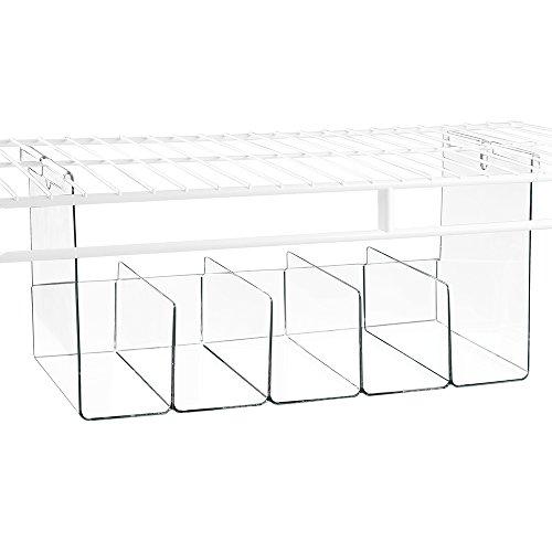 InterDesign Wire Shelving Organizer Under Shelf Bin - Large Divided Clear