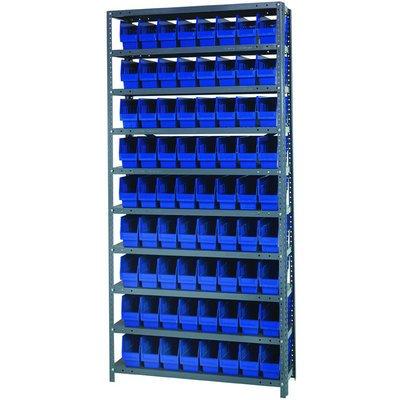 Quantum Storage Complete Shelving System with 6in Bins - 36inW x 12inD x 75inH 72 bins 11 58inL x 4 18inW x 6inHeach Blue Model 1275-201BL