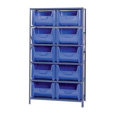 Quantum Storage Complete Shelving Unit with Giant Hopper Bins - 42inW x 18inD x 75inH Rack Size Blue Model QSBU-700BL