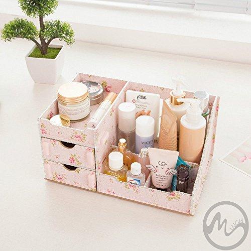 Makeup Organizer Desktop Storage Box Rack Wooden Cosmetic Shelving With Drawers