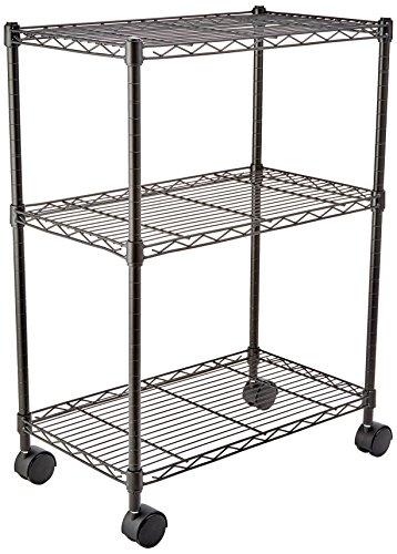 AmazonBasics 3-Shelf Shelving Storage Unit on 3 Wheel Casters Metal Organizer Wire Rack Black 232L x 134W x 3275H