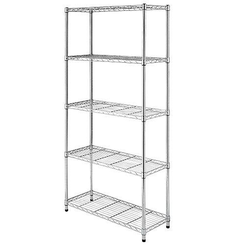 Lovinland 5 Tier Shelving Unit Storage Rack Metal Storage Shelf Organizer Wire Rack Shelf for Kitchen Batroom Office Shop 5 Tier Sliver