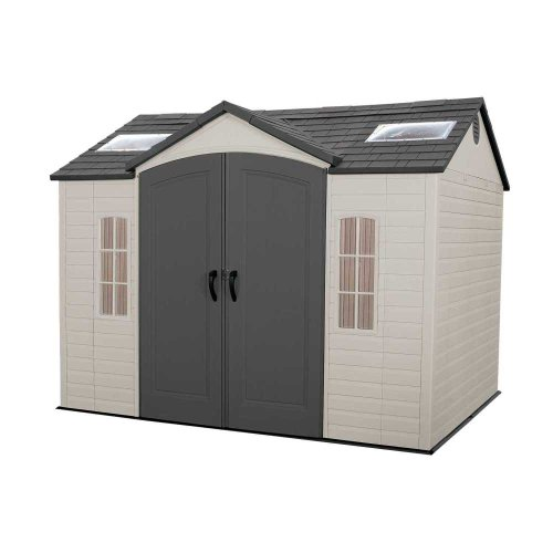 Lifetime 60005 Outdoor Storage Shed with Windows Skylights and Shelving 10 x 8-Feet