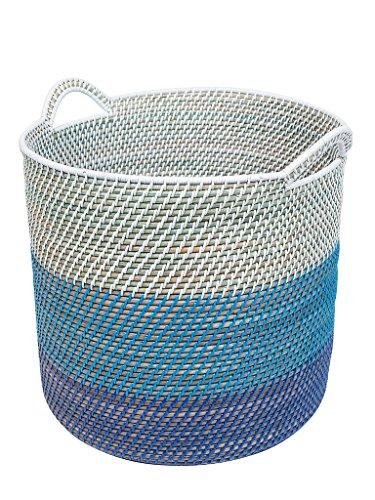 KOUBOO 1060099 Laguna Round Rattan Storage Basket with Ear Handles BlueTeal