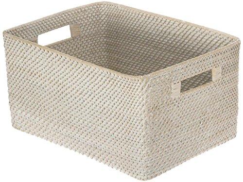 KOUBOO Laguna Rectangular Rattan Storage Basket White Wash