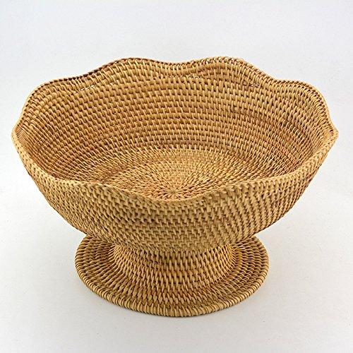 Lqchl Rattan Storage Basket Household Fruit Dish Room Snacks Candy Basket Creative Desktop Table Sundries BoxTuba