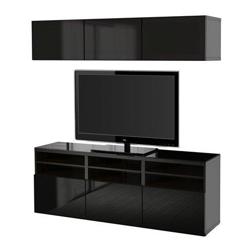 Ikea TV storage combinationglass doors black-brown Selsviken high glossblack clear glass 63862826420