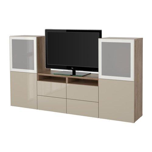 Ikea TV storage combinationglass doors walnut effect light gray Selsviken high glossbeige clear glass 2382262023612