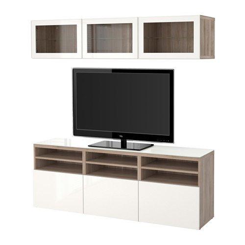 Ikea TV storage combinationglass doors walnut effect light gray Selsviken high-glosswhite clear glass 183862826616