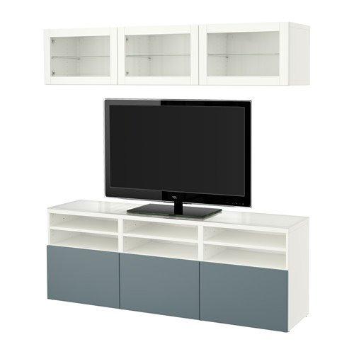 Ikea TV storage combinationglass doors white Valviken gray-turquoise clear glass 2386112981018