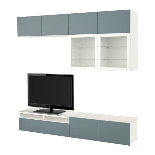 Ikea TV storage combinationglass doors white Valviken gray-turquoise clear glass 38386112922018