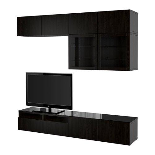 Ikea TV storage combinationglass push-open doors Lappviken Sindvik black-brown clear glass 34382292620168
