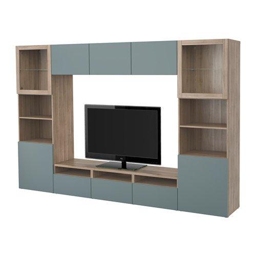 Ikea TV storage combinationglass push-open doors walnut effect light gray Valviken gray-turquoise clear glass 420414220266