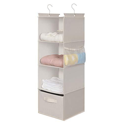MAX Houser 4-Shelf Hanging Closet OrganizerSpace SaverCloth Hanging Shelves with 2 Side PocketsFoldable