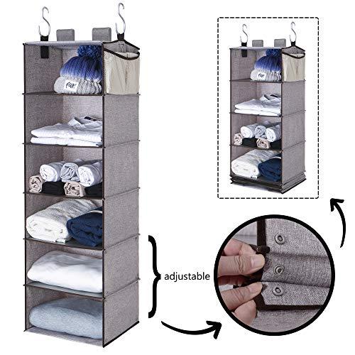 StorageWorks 6-Shelf Hanging Closet Organizer Multifunctional Foldable Storage Closet Hanging Shelves Polyester Fabric Gray 425H x 136W x 122D