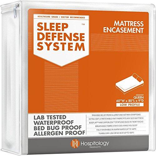 The Original Sleep Defense System - Waterproof  Bed Bug  Dust Mite Proof - PREMIUM Zippered Mattress Encasement Hypoallergenic Protector - 60-Inch by 80-Inch Queen - LOW PROFILE 9