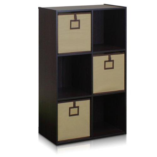 FURINNO 13093EX Econ 6-Cube Bookcase Storage Organizer Espresso
