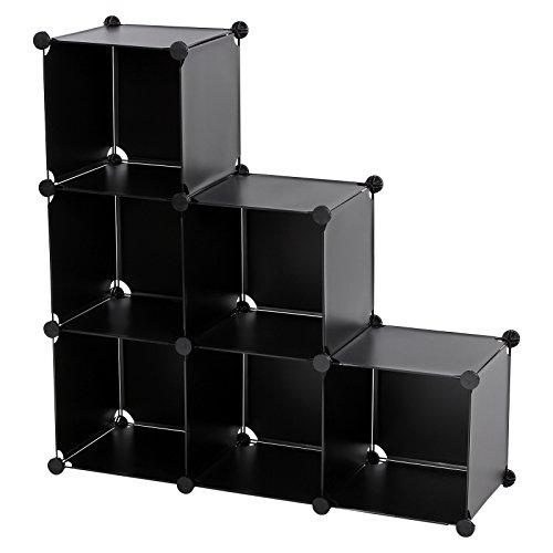 SONGMICS 3-Tier DIY Storage Cube Organizer Plastic Closet Shelf 6-Cube Bookcase Cabinet Black ULPC06H