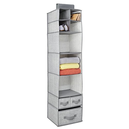 mDesign Fabric Hanging Closet Storage Organizer for Clothing Sweaters Shoes Accessories - 7 Shelves and 3 Drawers Gray