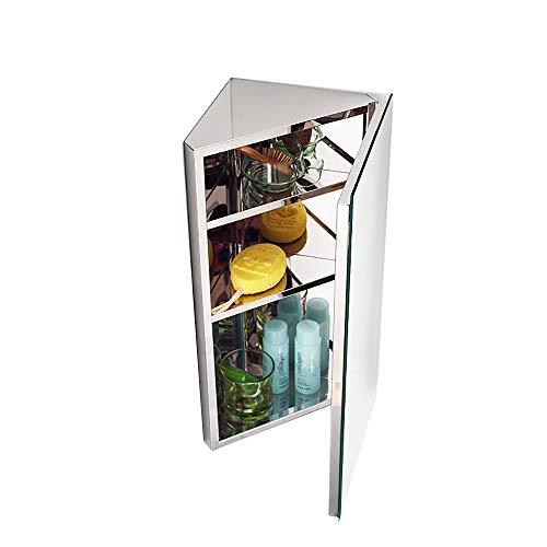 118 X236 Stainless Steel Bathroom Mirror Cabinet-Triangle Cabinet-Corner Locker-Wall-Mounted Multi-Function Kitchen Medical Storage Organizer with Mirror