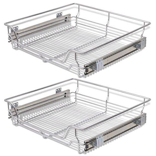 Festnight Pack of 2 Pull-Out Wire Storage Baskets Rack Sliding Steel Cabinet Slides Under Shelves Sliding Organizer for Kitchen Pantry Bathroom Cupboard 236 Wide