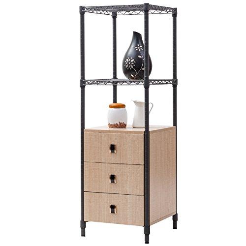 Giantex Collection Storage Cabinet Bathroom Freestanding Shelf W 3 Drawers 2 Shelves Steel Frame Tower Floor Cabinet