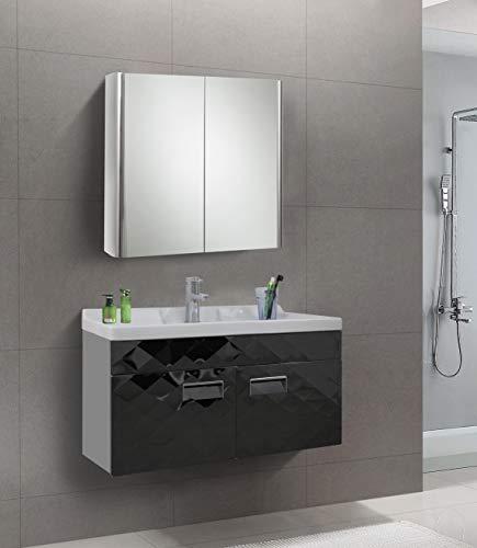 KAASUN 26 x 24 Inch Wall Mounted Medicine Cabinet Stainless Steel Bathroom Double Door Storage Mirror Cabinet