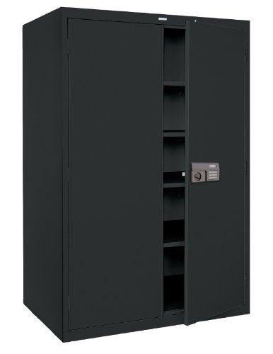 Sandusky Lee KDE7824-09 Black Steel Powder Coat SnapIt Storage Cabinet Keyless Electronic Coded Lock 4 Adjustable Shelves 78 Height x 36 Width x 24 Depth