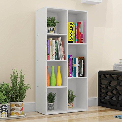 Bestwoohome Wood 7 Cubbies Storage Cabinet Organizer Bookcase White