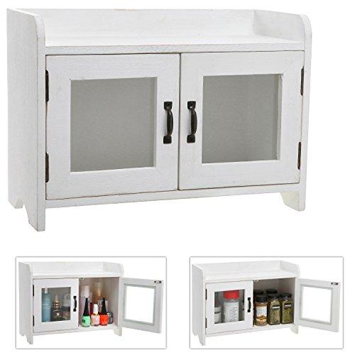Decorative Shabby Chic White Wood Mini Kitchen Cupboard  Spice Cabinet  Bathroom Storage Cabinet w Glass Windows