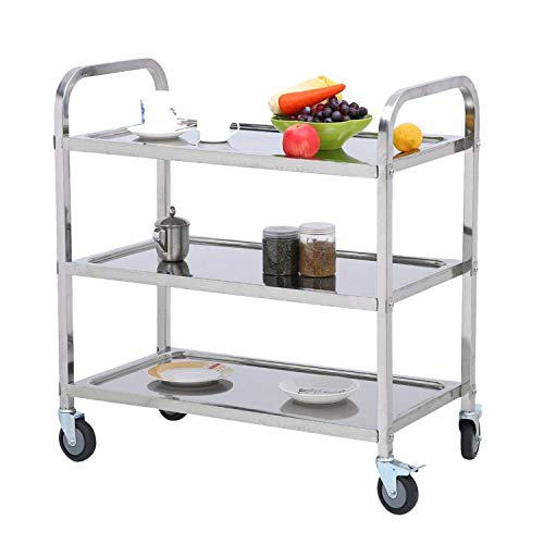 Nisorpa 3 Tier Stainless Steel Utility Cart with Wheels Kitchen Island Trolley Serving Cart Catering Storage Shelf with Locking Wheels for Hotels Restaurant Home Use L30xW16xH33inch