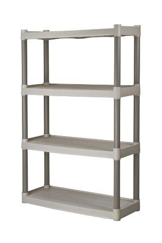 Plano Molding 907-003 4 Shelf Utility Shelving  Plastic Shelving for Organization Storage Light Taupe