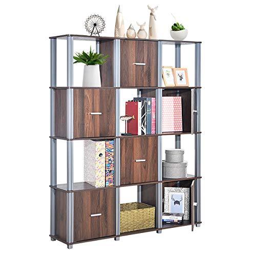 Tangkula Storage Shelf 4-Tier Utility Shelf Multifunctional Storage Cabinet Organizer Rack Display Stand Bookcase Bookshelf Walnut