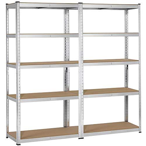 Yaheetech 2 Packs Heavy Duty 5-Shelf Commercial Garage Shelving Unit Utility Storage Shelves Adjustable Boltless Steel Display Rack 71in Height
