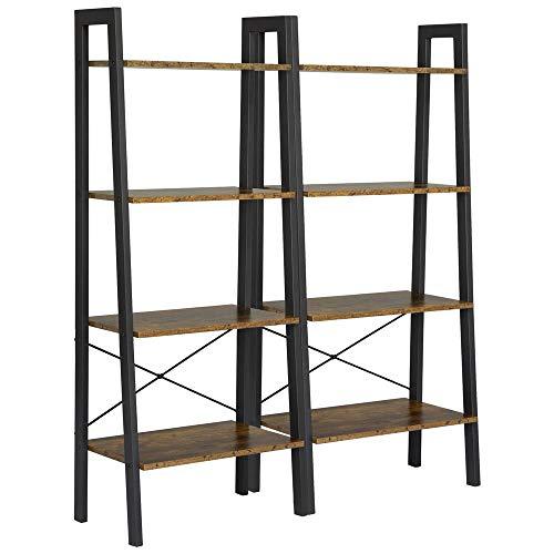 Yaheetech 4-Shelf Shelving Unit Storage Rack Bookshelf Display Rack Ladder Shelf Utility Rack Garage Shelves 541 Inches Bookcase 2 Pack