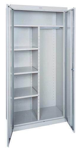 Sandusky EACR361878-05 36-Inch Wide by 18-Inch Deep by 78-Inch High Welded Industrial Storage Combination WardrobeThree-Shelf Cabinet Light Grey