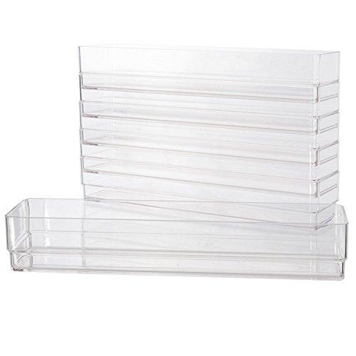 Break-Resistant Plastic Drawer Organizers 12 x 3 x 2 l Set of 6