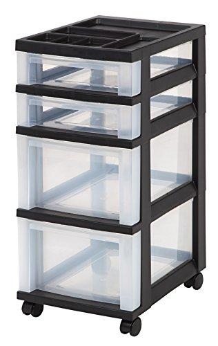 IRIS 4-Drawer Storage Cart with Organizer Top Black