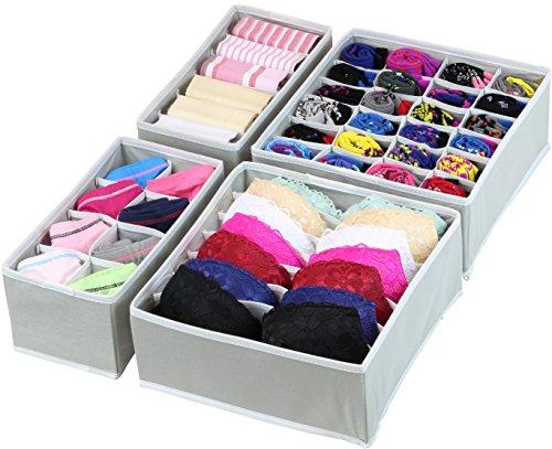 SimpleHouseware Closet Underwear Organizer Drawer Divider 4 Set Gray