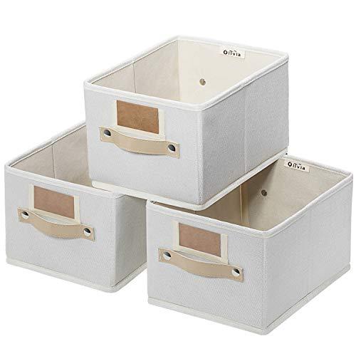 OLLVIA Foldable Storage Bins Set of 3 Rectangle Baskets for Organizing Storage Basket with Labels Decorative Organizer Bins for Shelves Fabric Closet Storage Bins Box for HomeOffice 114x87x67