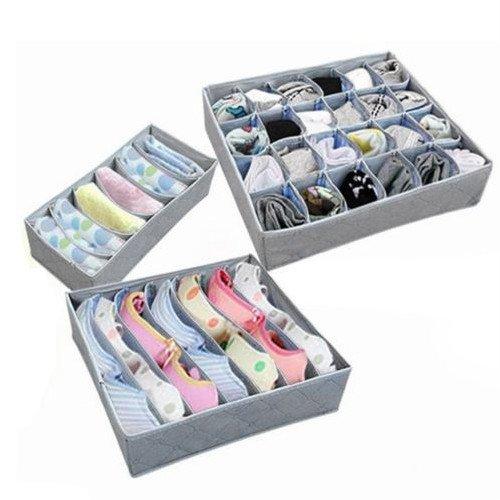 3Pcs Underwear Closet Container Divider Bra Socks Ties Storage Organizer Box New