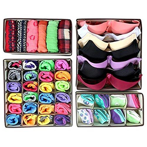 Hosaire Collapsible Drawer Divider Kit Underwear Bra Socks Ties Divider Closet Container Storage Box Organizer 4 Set Beige