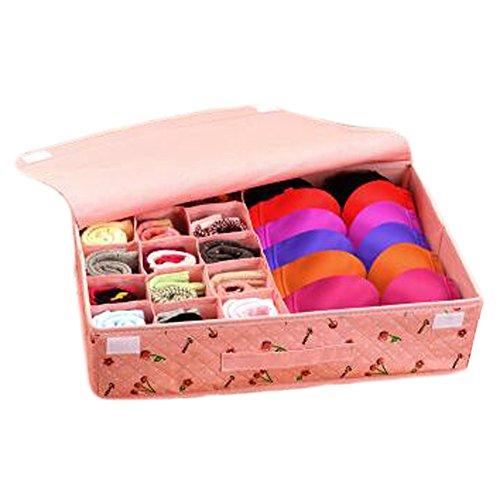 Saymequeen Underwear Bra Socks Ties Divider Closet Container 15 Storage Box Organizer Pink-Cherry