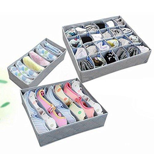 Underwear Bra Socks Ties Divider Closet Container Storage Box Organizer Set3pcs